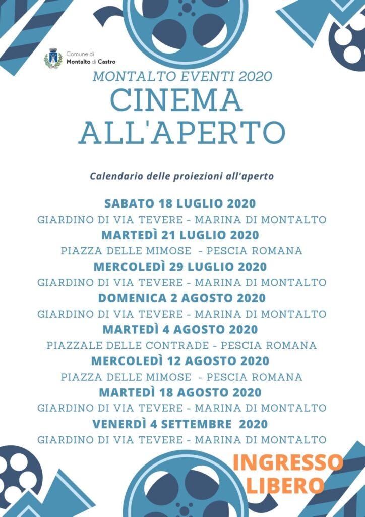 cinema all'aperto montalto di castro eventi 2020